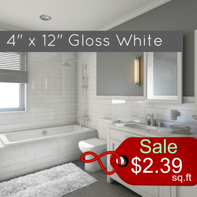 Gl Tile Clearance Metro Subway White Gloss 4 X 12 Ceramic Wall 2 39 Per Square Foot