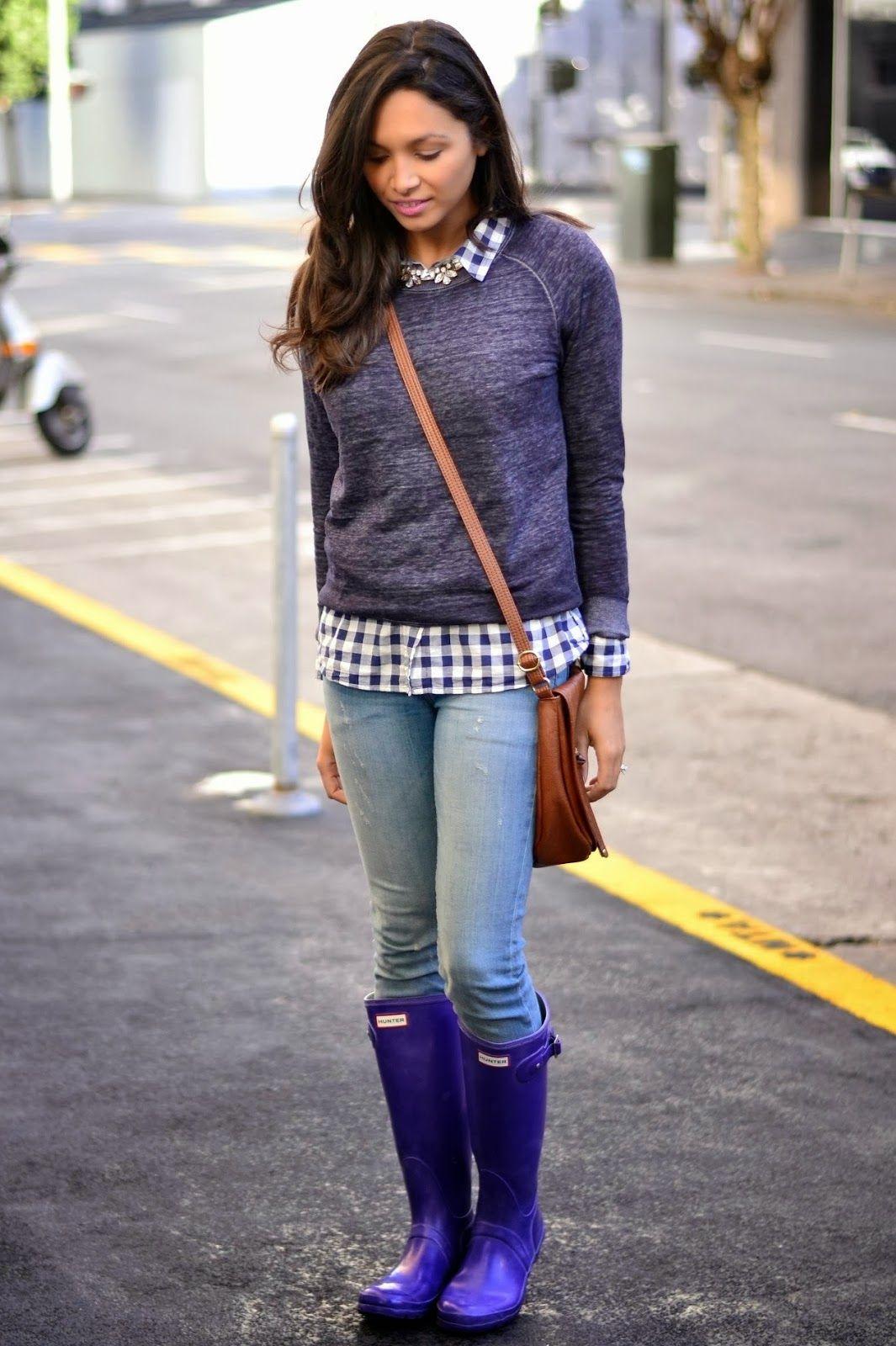 Britt of Britt + Whit wearing Hunter boots for a great purple on purple look