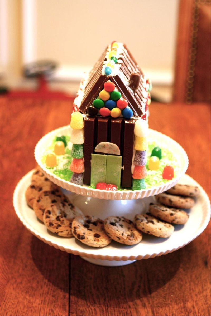 Christmas Building a Kit Kat house Christmas goodies