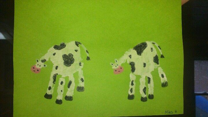 Handprint Cow Toddler Arts Crafts Cow Craft Hand Print