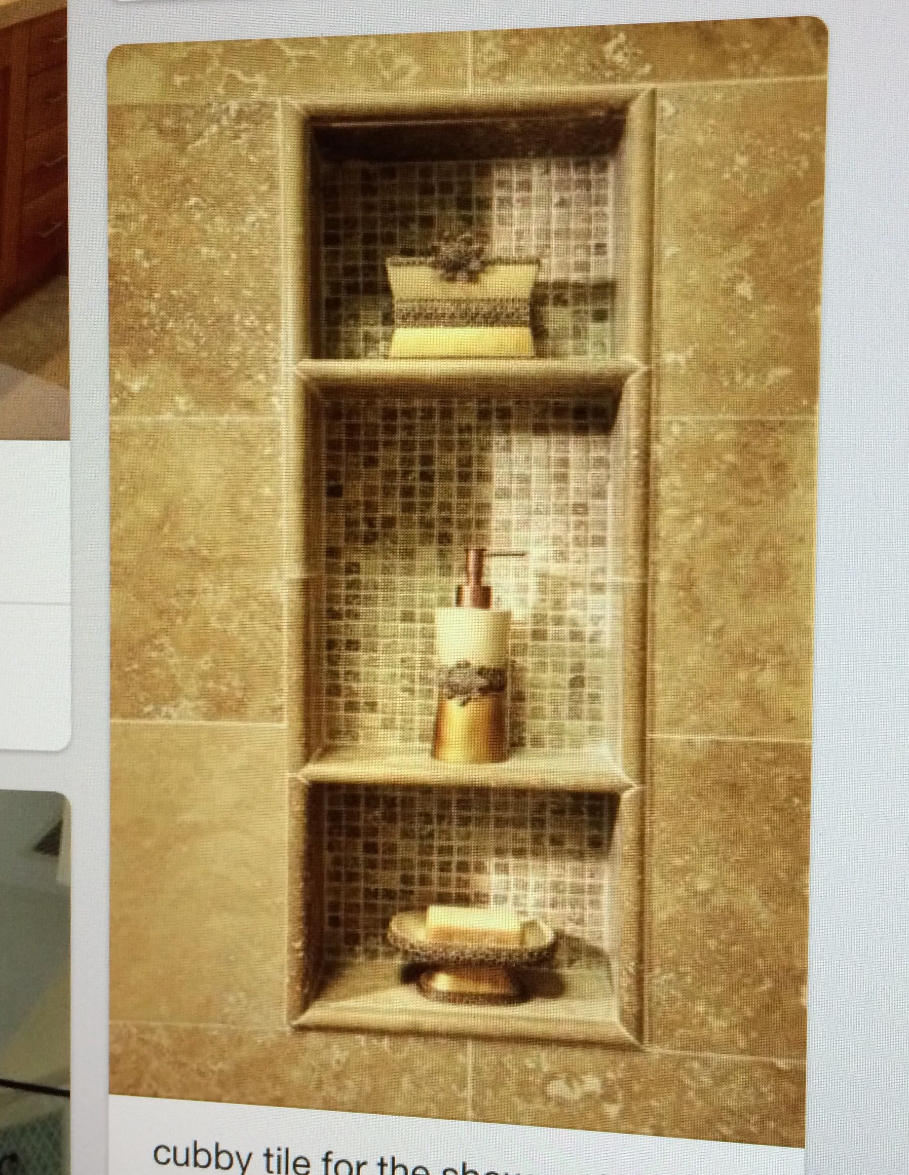 1 big shower niche but separated into 3 all connected by shelves ...