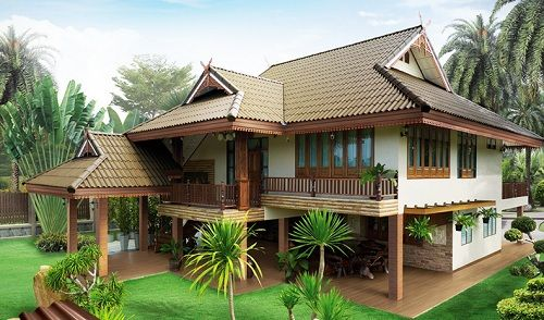 Modern Thai Style House Kerala House Design House Designs Exterior Traditional House Plans