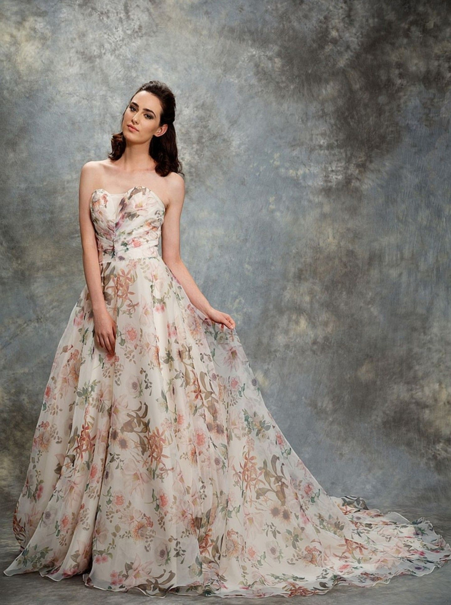Liz martinez wedding dress  Printed floral wedding dress  dresses  Pinterest  Floral