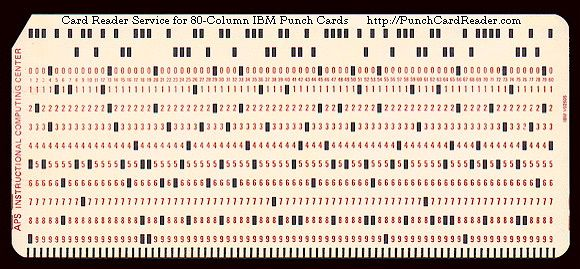 Image result for 80 column punch card