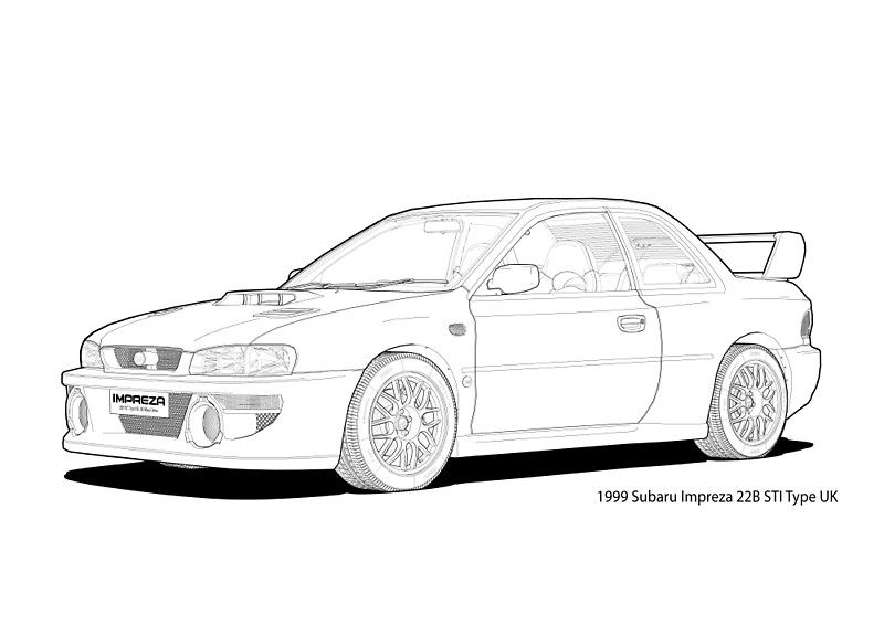 u2018subaru impreza 22b sti type uk line illustration u2019 art