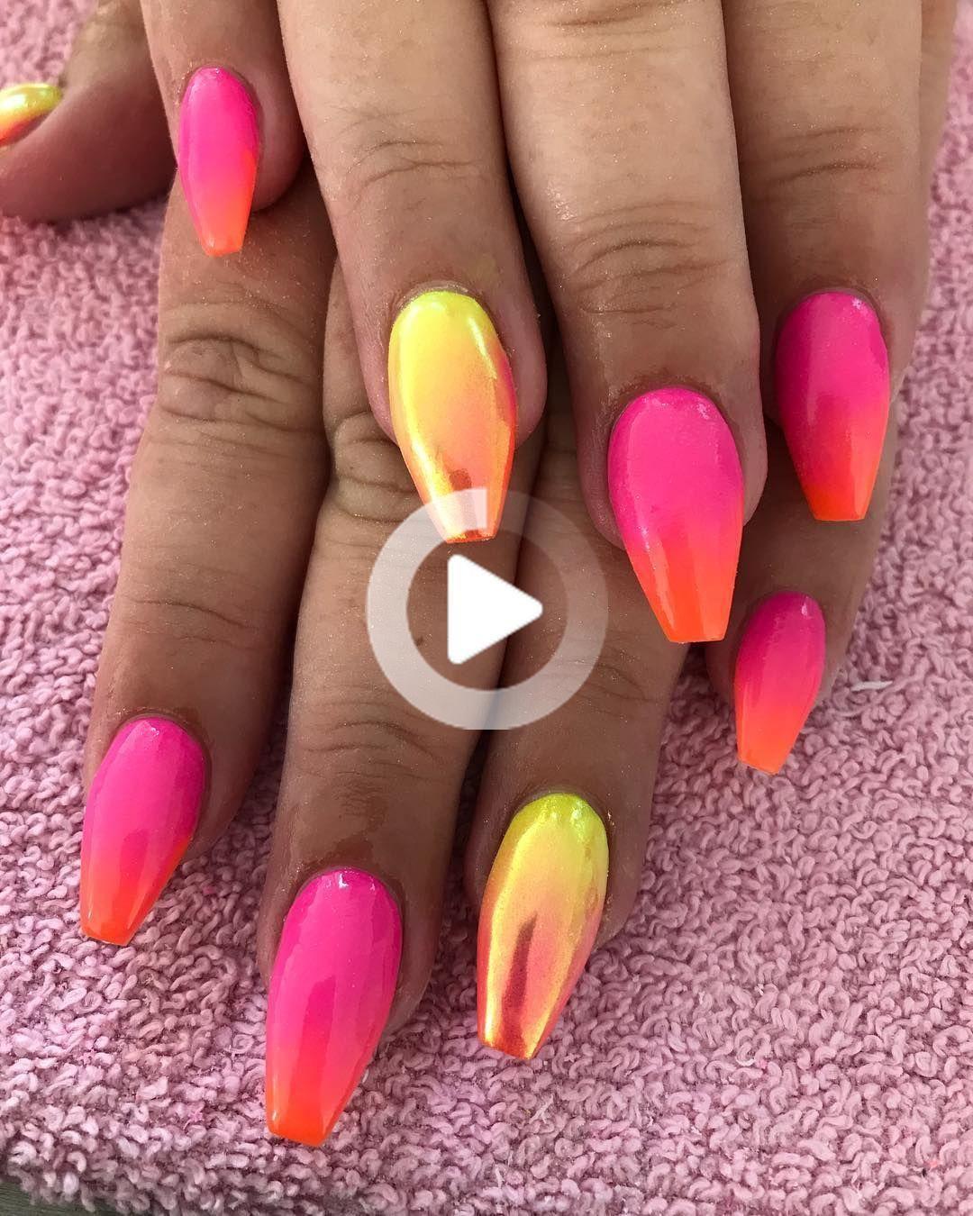 Amazon Com Acrylic Nails In 2020 Neon Nails Nail Designs Hot Pink Bright Nail Art