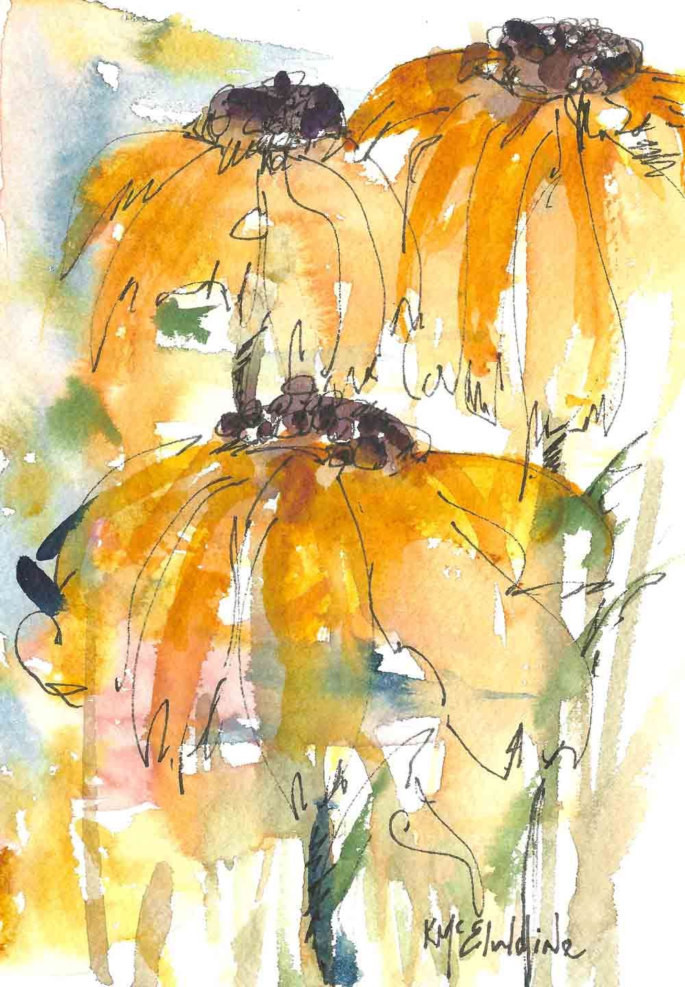7 x 5 Watercolor Painting abstract SunFlowers Abstract