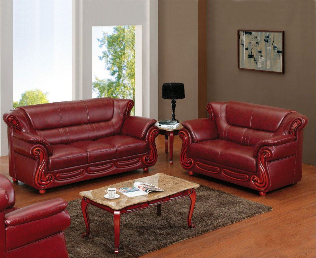 Remarkable 1546 2 Pcs Living Room Set Wine Bounded Leather Sofa And Creativecarmelina Interior Chair Design Creativecarmelinacom