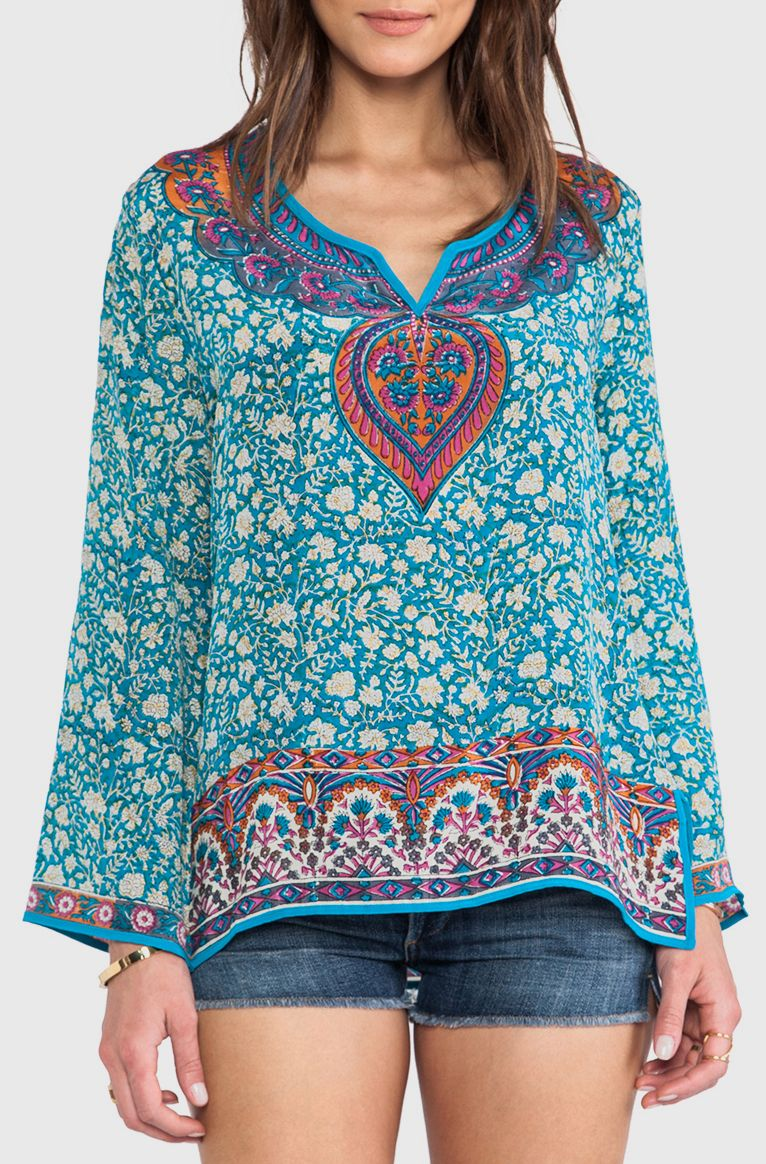 Tolani Mia Long Sleeve Blouse in Teal