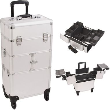 Silver Dot Trolley Makeup Case I3264 Rolling Makeup