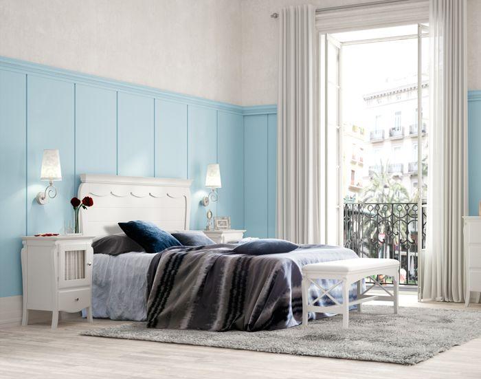 Conjunto dormitorio en color blanco roto, se compone de 1 cabecero ...