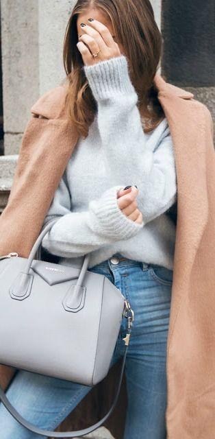 #fall #outfits / gray knit + camel coat