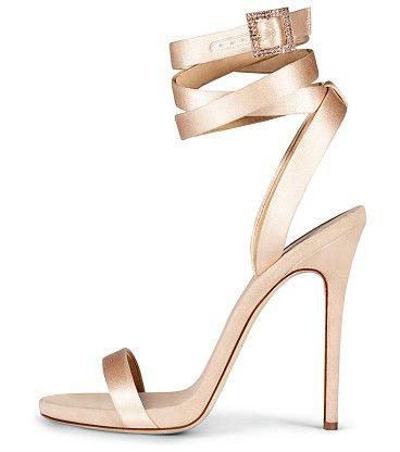 "Leslie Satin Ankle-Wrap 120mm Sandal by Giuseppe Zanotti for Jennifer Lopez. Giuseppe Zanotti for Jennifer Lopez satin sandal. 4.8"" covered heel. Thin strap bands open toe. Adjustable ankle-wrap..."