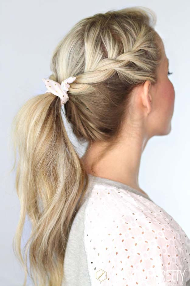 37 Easy Hairstyles for Work | Twist ponytail, Shoulder length hair ...