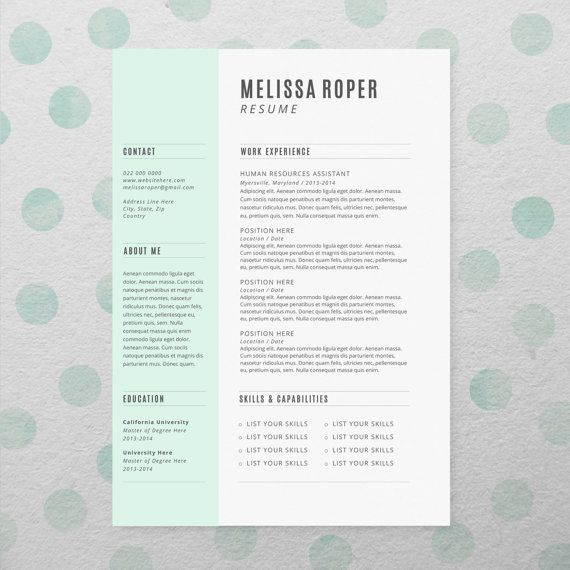 Cv Design + Cover Letter, Instant Download, Printable Resume