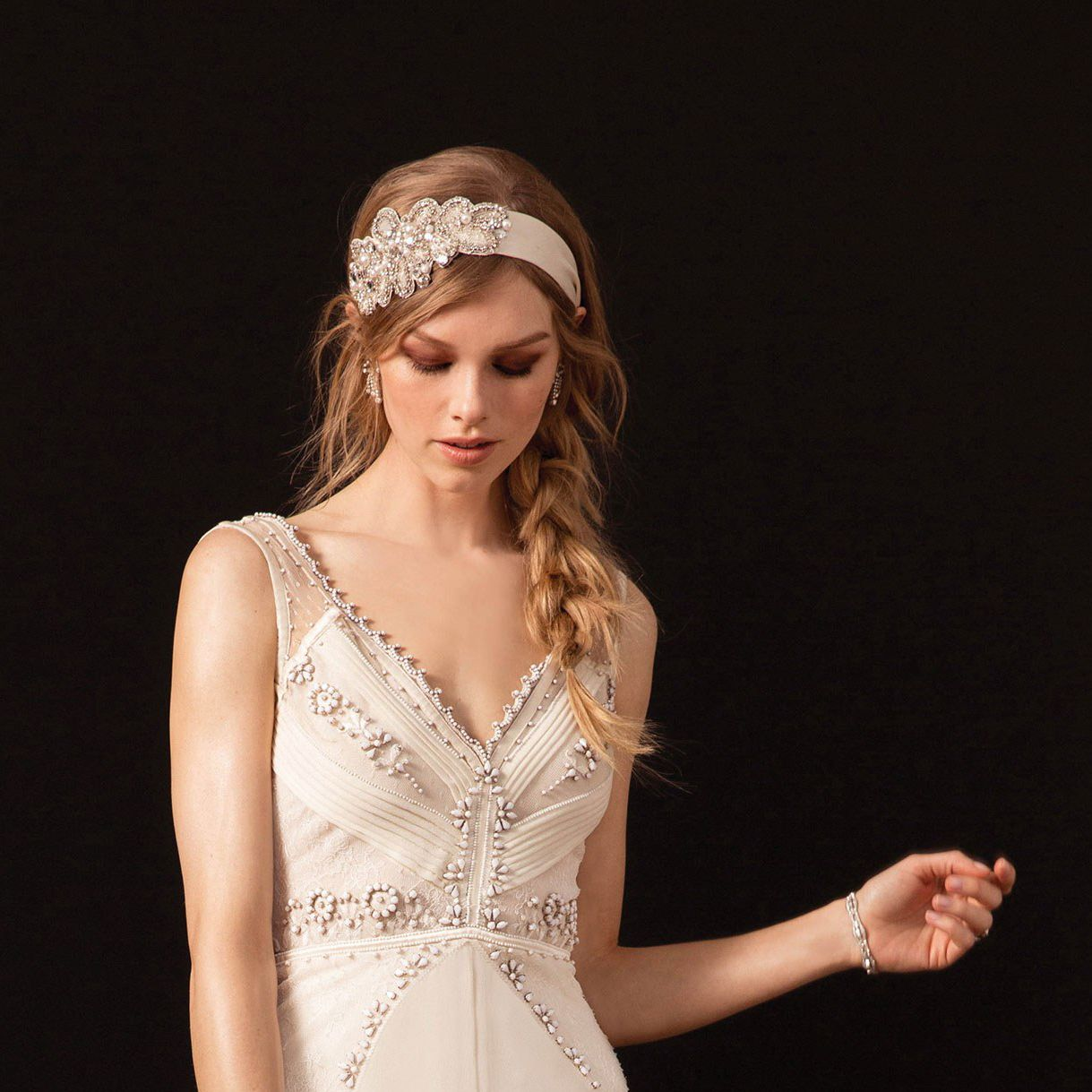 Vintage style wedding gown with embroidered headband at temperley