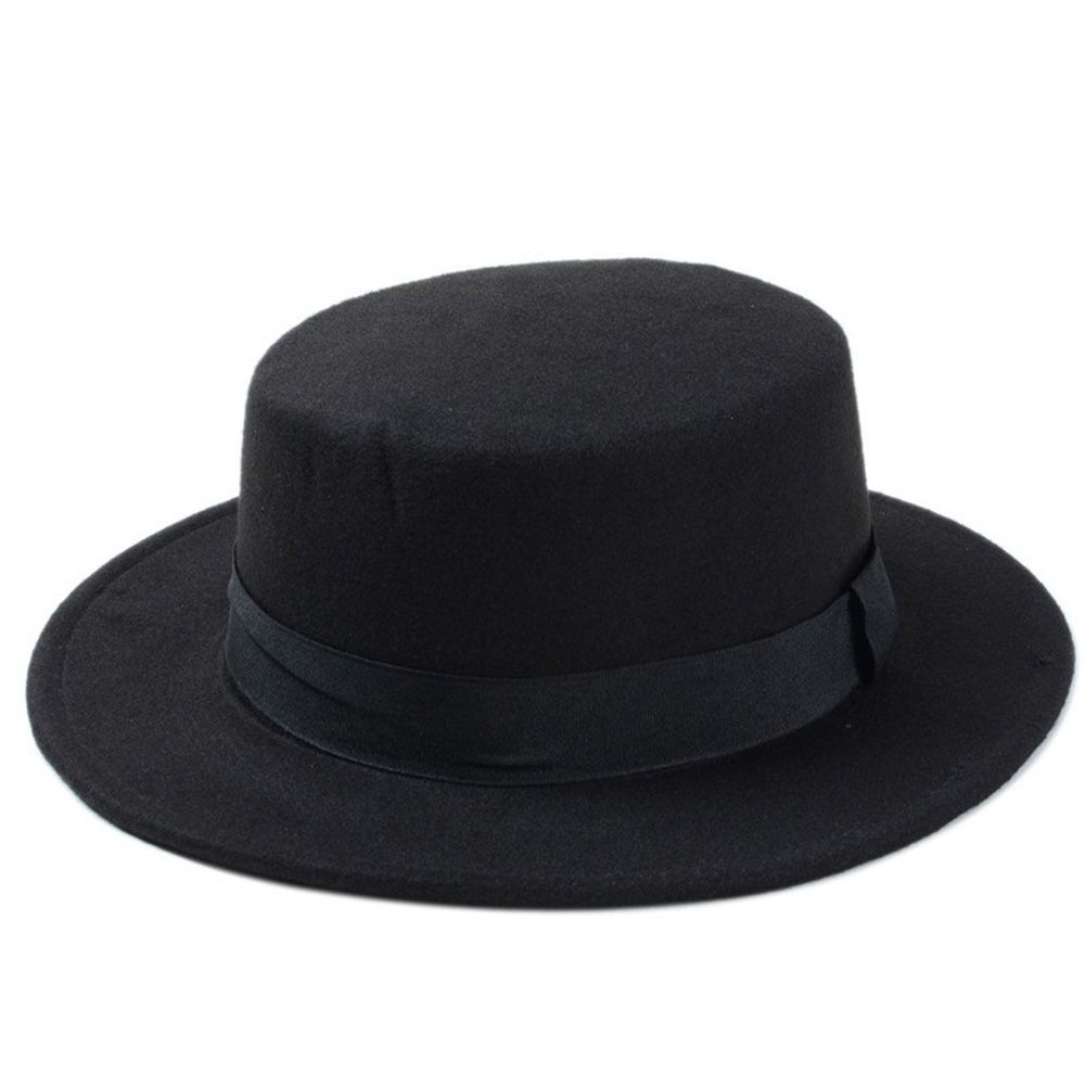 Women Fashion Boater Fedora Top Hat Lady Wide Brim Wool Blend Casual Bowler Cap