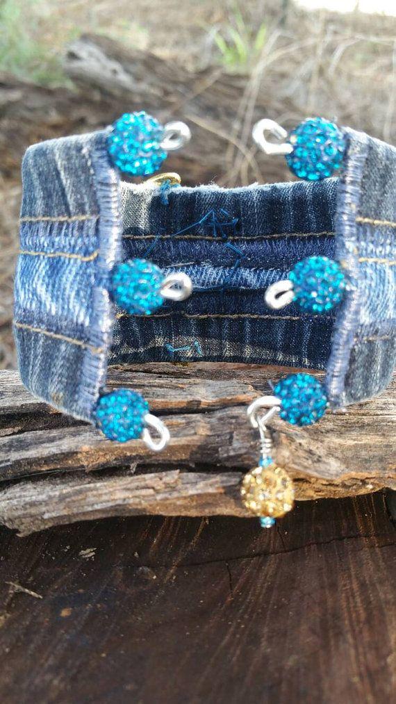 Del dril de algodón reciclado brazalete pulsera con diamantes ...