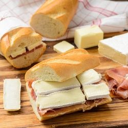 Prosciutto and Brie on Baguette...now this is a proper sandwich !