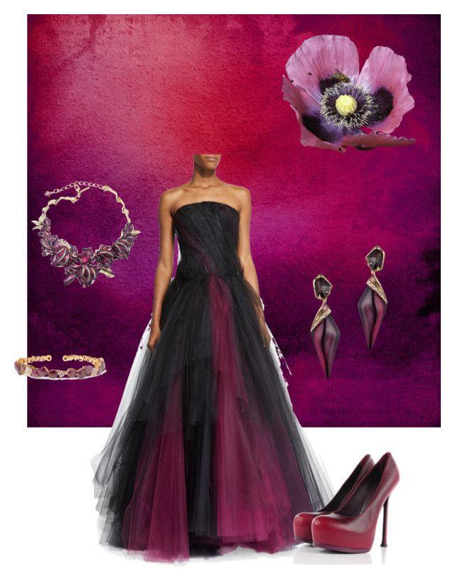 """#20 purple rain. .hk"" by hella-von-felis ❤ liked on Polyvore featuring Oscar de la Renta, Yves Saint Laurent, Alexis Bittar and Suzanne Kalan"