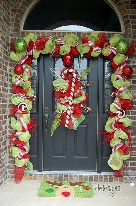 Décoration de Noël extérieure- idées porte d\u0027entrée et jardin Sol