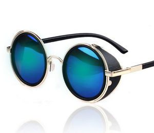 50e84080d7d4 Blue Steampunk Sunglasses Vintage Retro Round Lens 50s Glasses Cyber Goggles