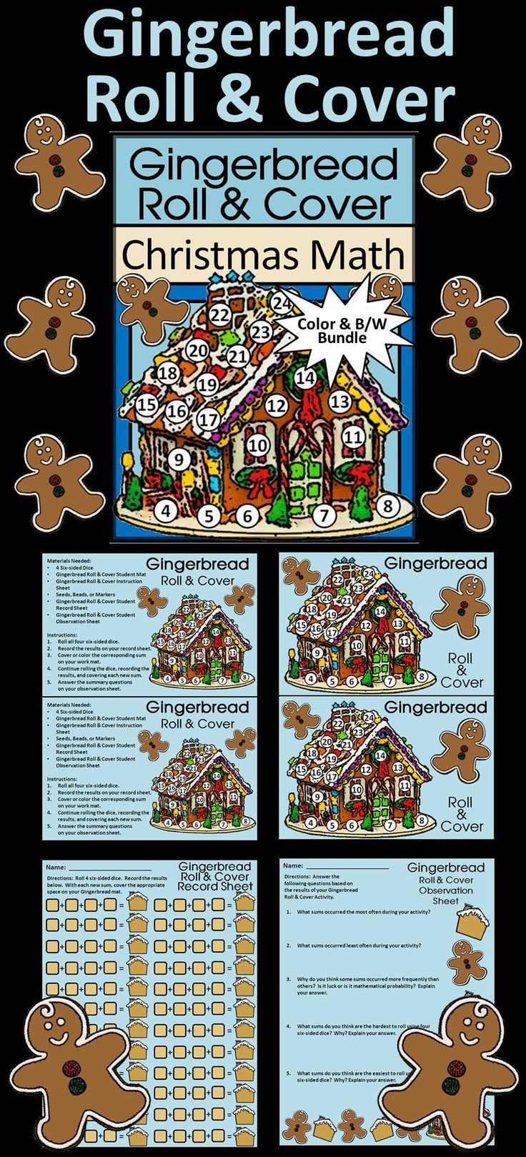 Gingerbread Roll & Cover Christmas Math Activity Packet: Give your ...