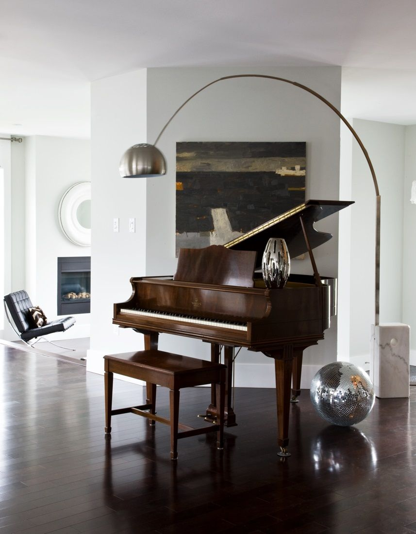 Living room brown baby grand piano