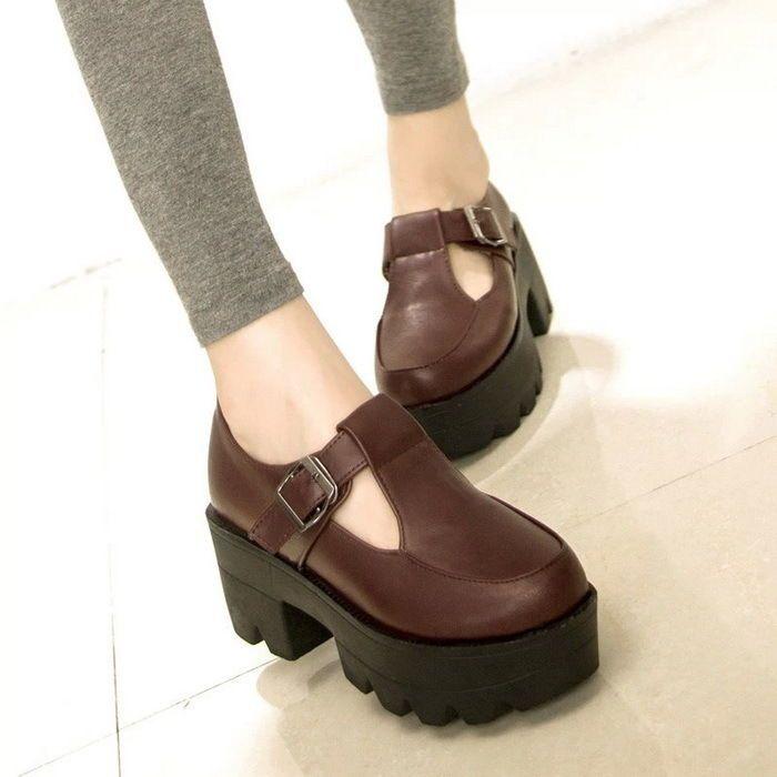 Womens Girls Creeper Platform Chunky T-Strap Mary Jane Lolita Shoes Round Toe