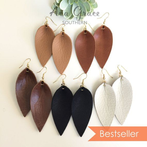 Joanna Gaines Style Pinched Leaf Genuine Suede Leather Earrings