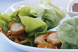 Our Asian-inspired Pork Lettuce Wraps with Warm Peanut Sauce are anything but ordinary.  Crispy pork, shredded carrots and sliced green onions get wrapped in lettuce leaves with a savoury peanut sauce for a fresh take on dinner.