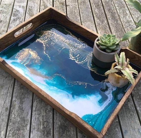 Resin art word tray