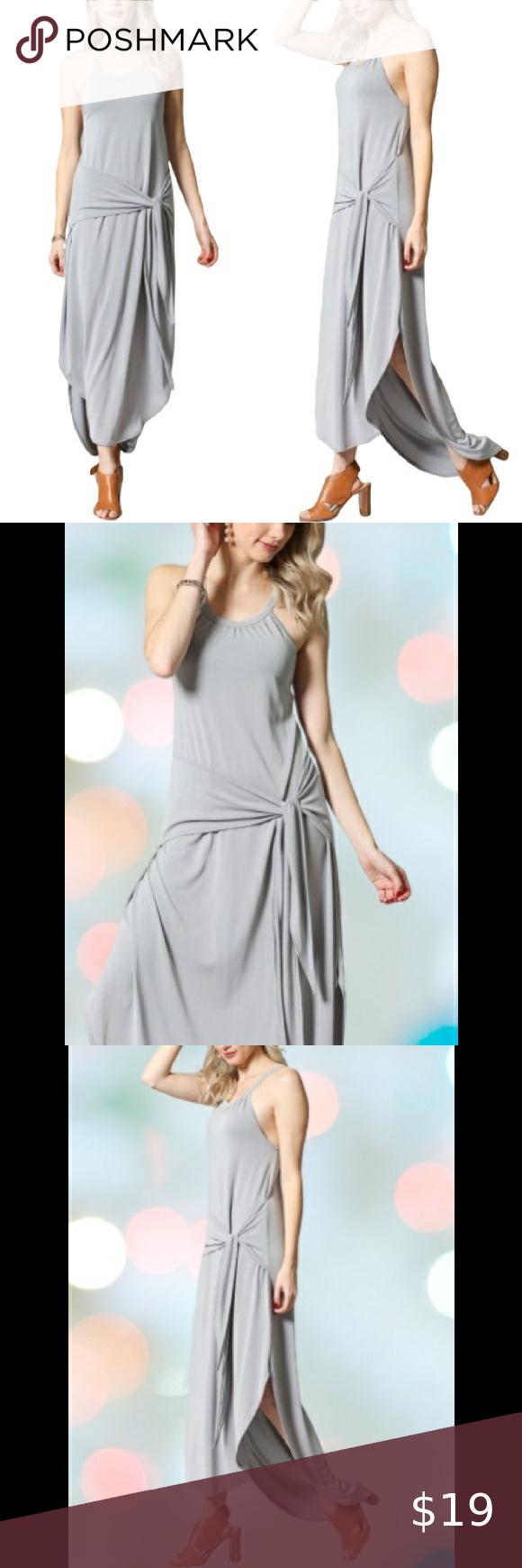 Sleeveless Halter Maxi Dress Light Silver Cupro Sleeveless Maxi Dress With Round Hem Waist Tie Model Is 5 8 Wearing A In 2020 Boutique Maxi Dresses Maxi Dress Dresses