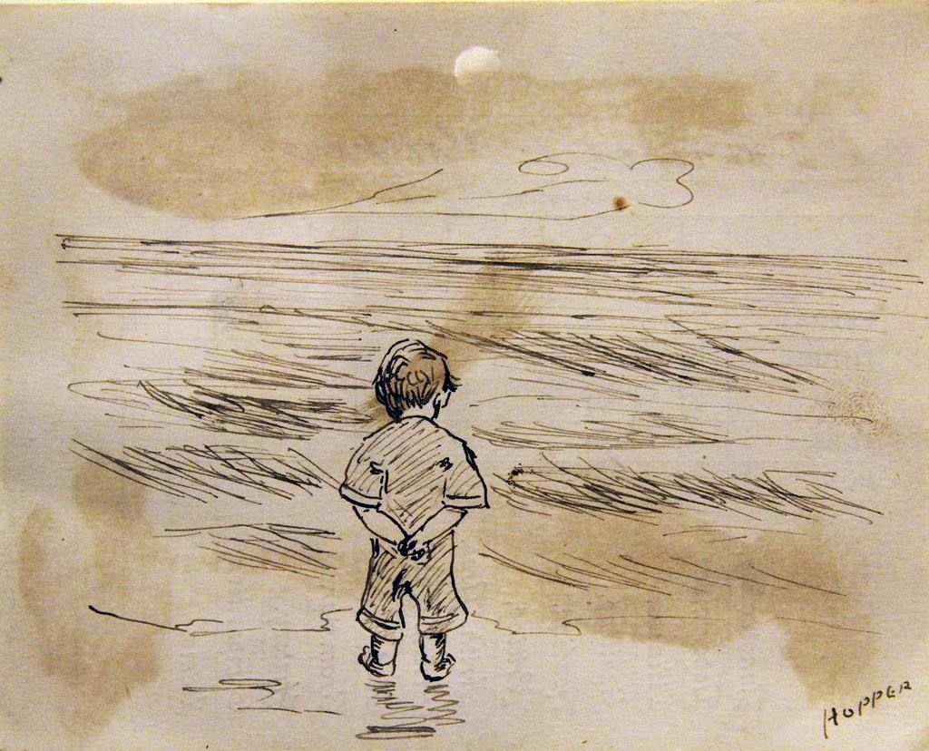 "Edward Hopper - ""Little Boy Looking at the Sea,"" drawn on the reverse of a report card, undated."