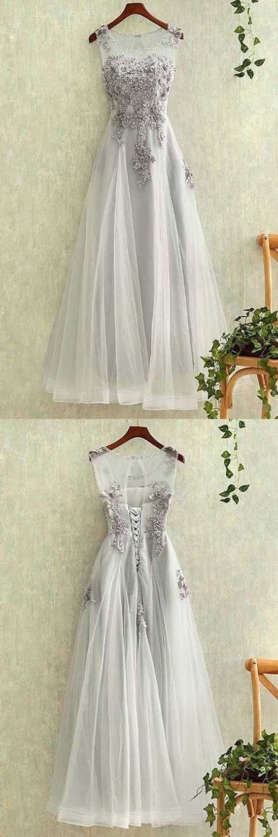 Fetching prom dress elegant tulle lace applique long prom