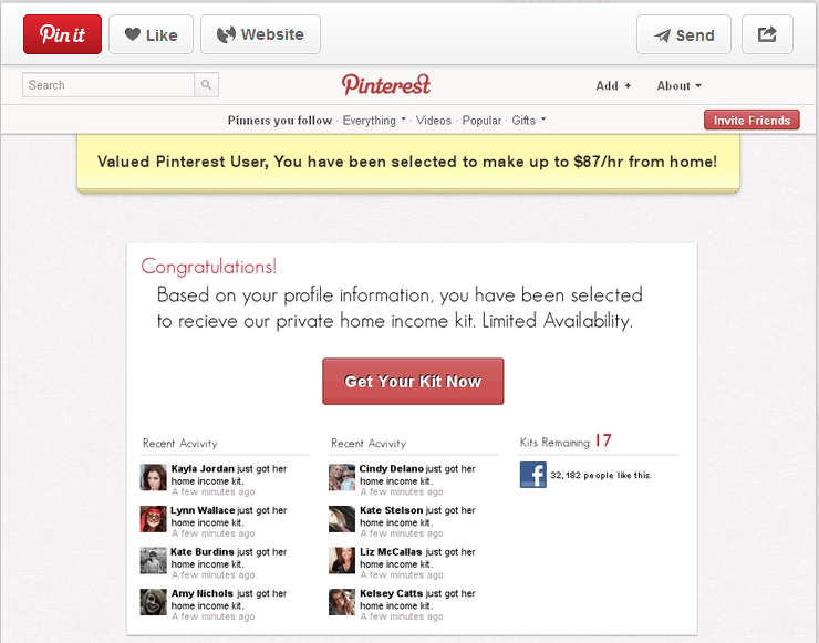 It seems all kinds of Pinterest users are being taken in by this ...