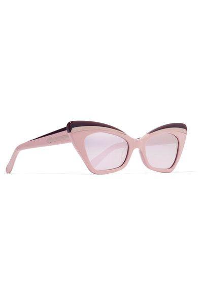 b0d8427e566 Karen Walker - Babou Cat-eye Acetate And Silver-tone Mirrored Sunglasses -  Pink