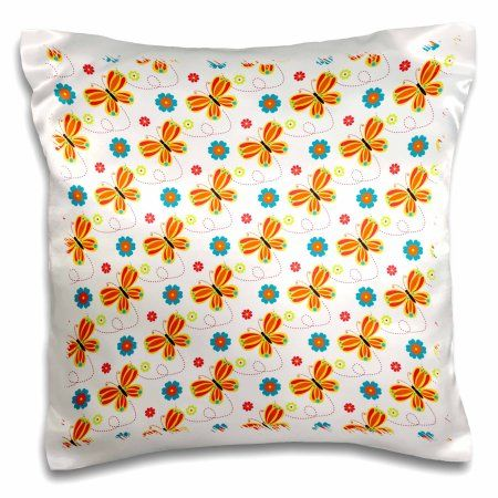 3dRose Cute Pink, Orange, and Yellow Butterflies On White, Pillow Case, 16 by 16-inch
