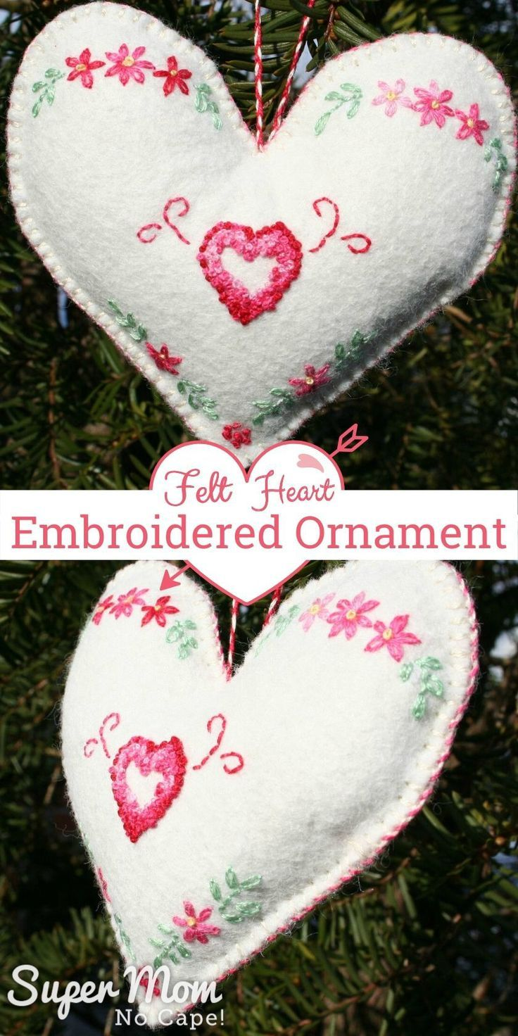 How sweet is this Felt Heart Embroidered Ornament! Quick and easy to make from white felt and basic embroidery stitches; lazy daisies, french knots, backstitch and whipped blanket stitch. A handmade gift perfect for Valentine's Day. #embroidery #ValentinesDay #giftideas
