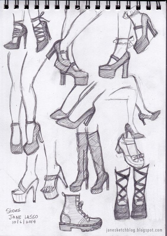 como dibujar zapatos de mujer paso a paso - Buscar con Google
