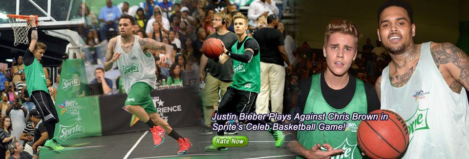 Justin Bieber Plays Against Chris Brown in Sprite's Celeb Basketball Game!