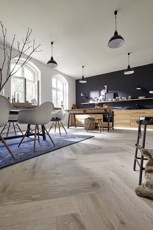 Parkett Residence PS 500 Eiche authentic weiß 8563 gebürstet - bilder für küche und esszimmer