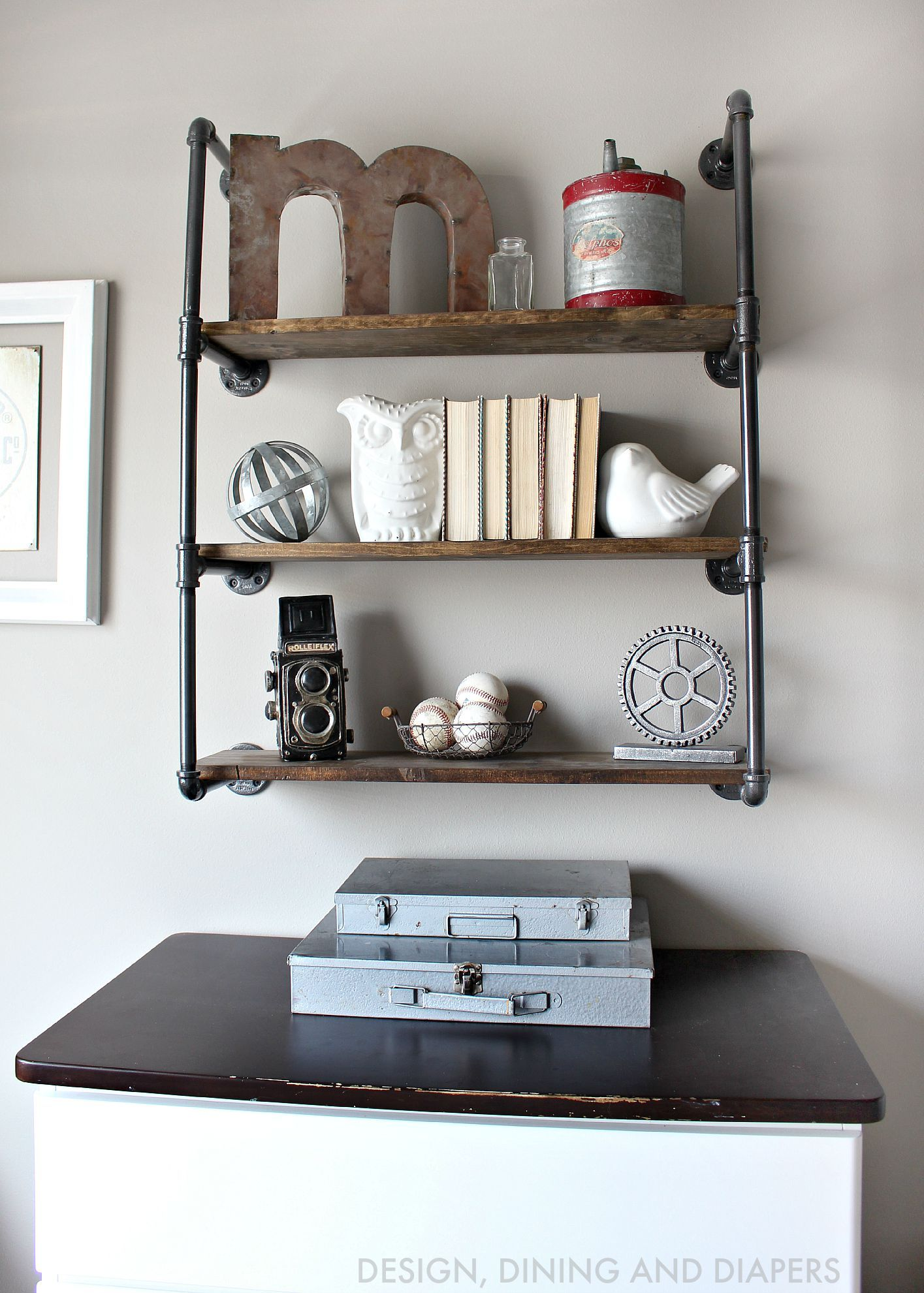 Kids Bedroom Shelving Rustic Toddler Boys Room Pipes Industrial And Shelves