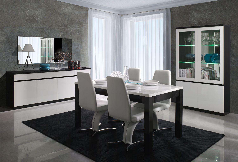Salle A Manger Complete Moderne Franco Noir Et Blanc Brillant