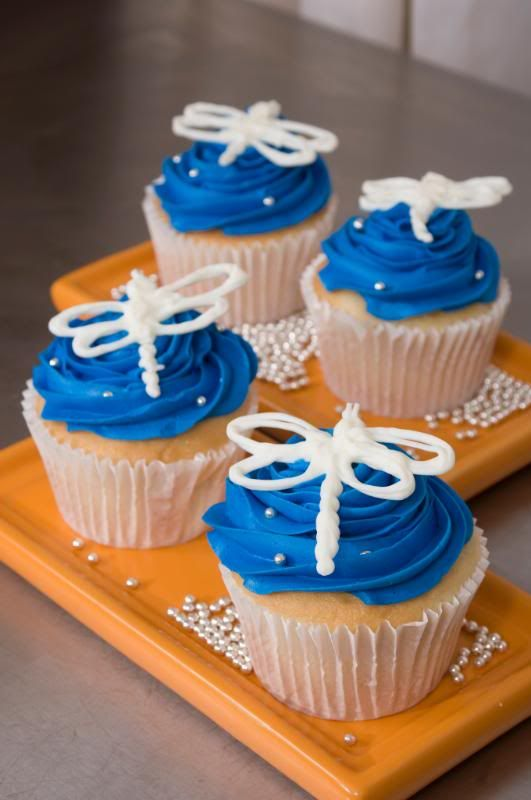 Dragonfly toppers for cupcakes that could be made out of candy melts.