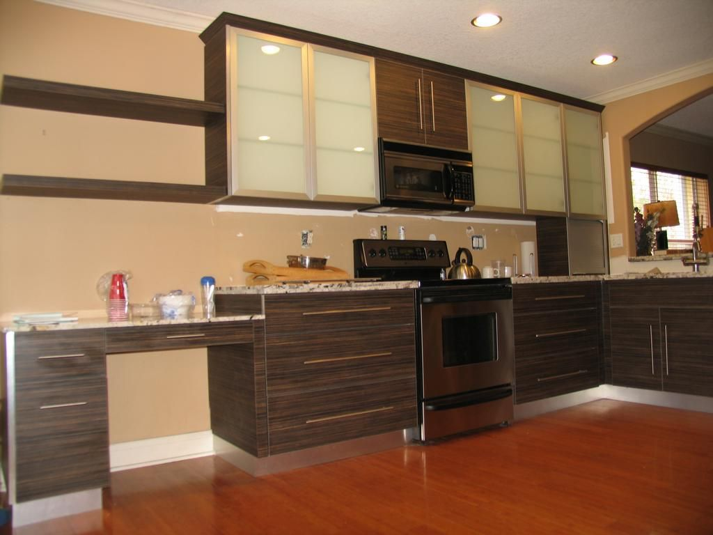 Bon Interior, Adorable Italian Kitchen Cabinet Design With Wonderful Dark Brown  Wood Veneer Combined White Top