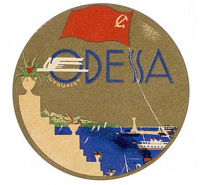 Odessa USSR mid century travel label