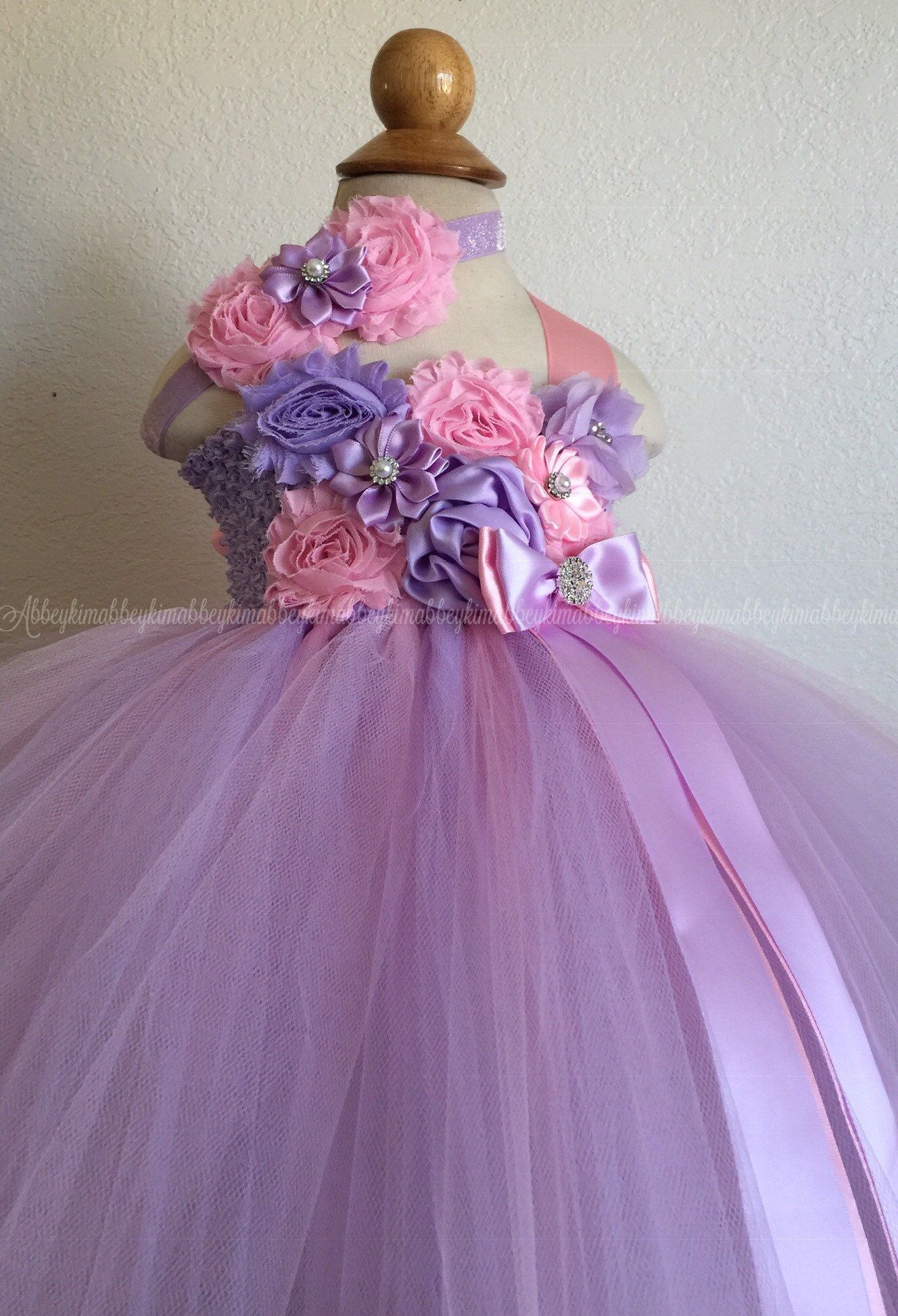 Beautiful baby girl first birthday tutu dress in pink and