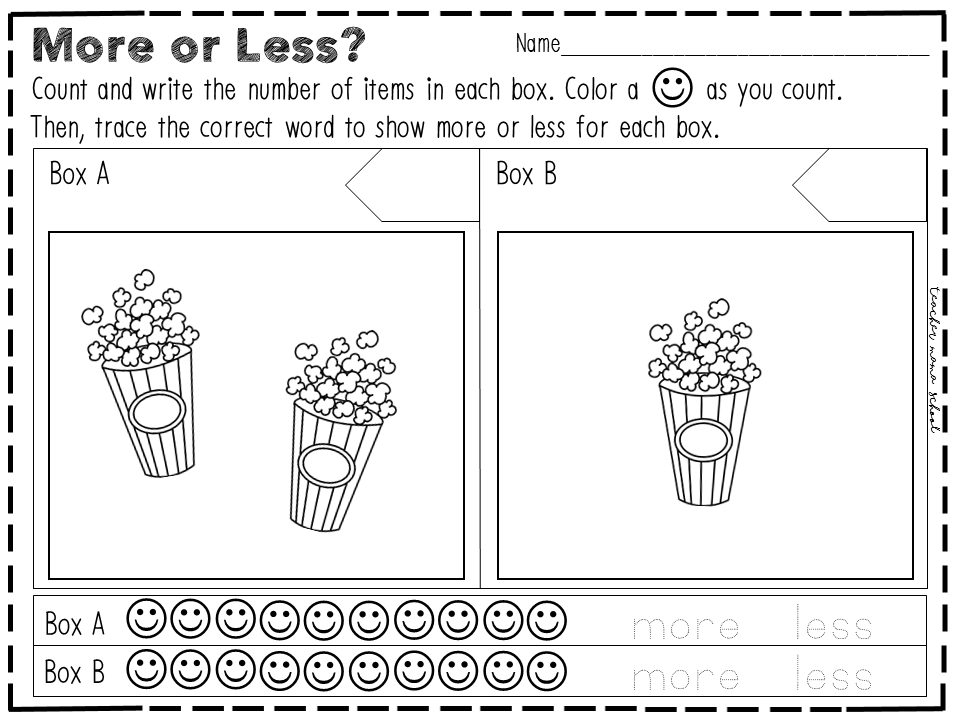 More or Less Activity and Worksheets MiniBundle – More Less Worksheets