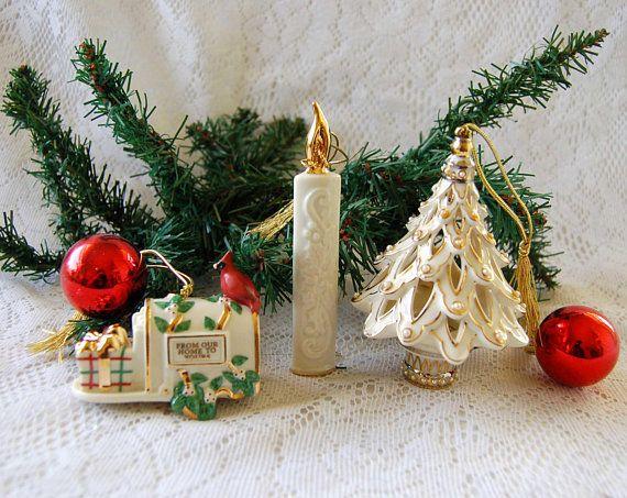 3 Lenox Christmas Ornaments, Lenox Porcelain Christmas